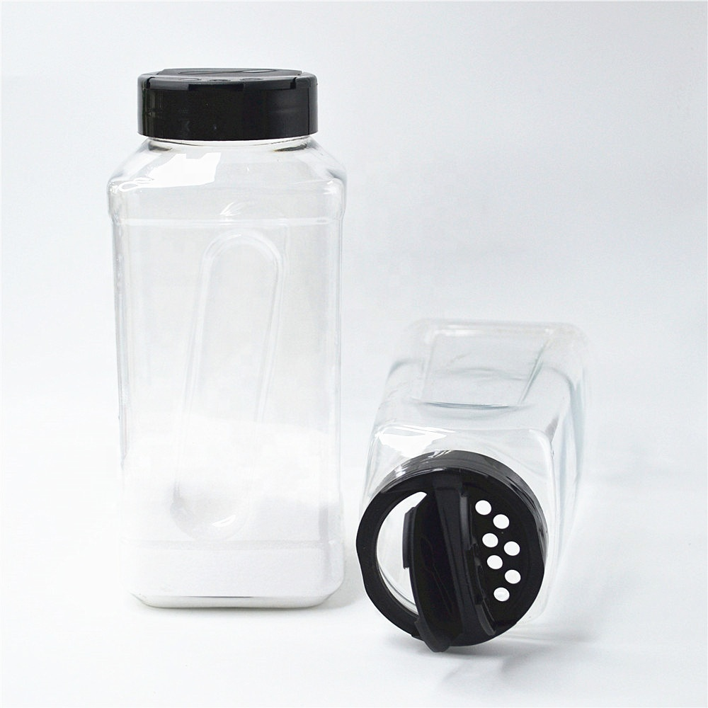 32 oz pet plastic square spice jar pepper shaker seasoning bottle container with 63 mm double flapper cap