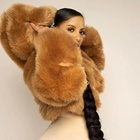 Winter faux fur hoodie coat motorcycle fur jacket cropped Factory price womens faux fur coat