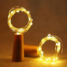 1 м 2 м светильники в форме винных бутылок с пробкой светодиодный свет шнура медная проволока сказочная гирлянда огни Рождество Праздник Веч...(Китай)