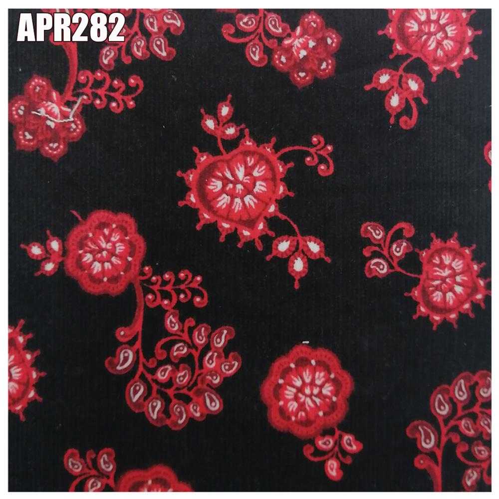 Готовая навалочная/в наличии Вельветовая ткань темного шоколада с красными цветами