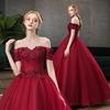 dark red beaded one word wedding dress