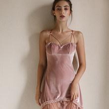Черное розовое сексуальное женское белье, горячая бархатная ночная рубашка, кружевное темпераментное платье, красивая женская ночная соро...(Китай)