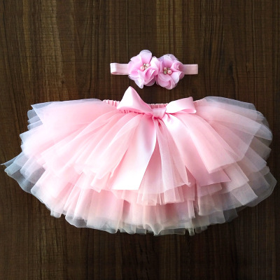 Baby girl tutu skirt 2pcs tulle lace bloomers diaper cover Newborn infant outfits Mauv headband flower set Baby mesh bloomer.