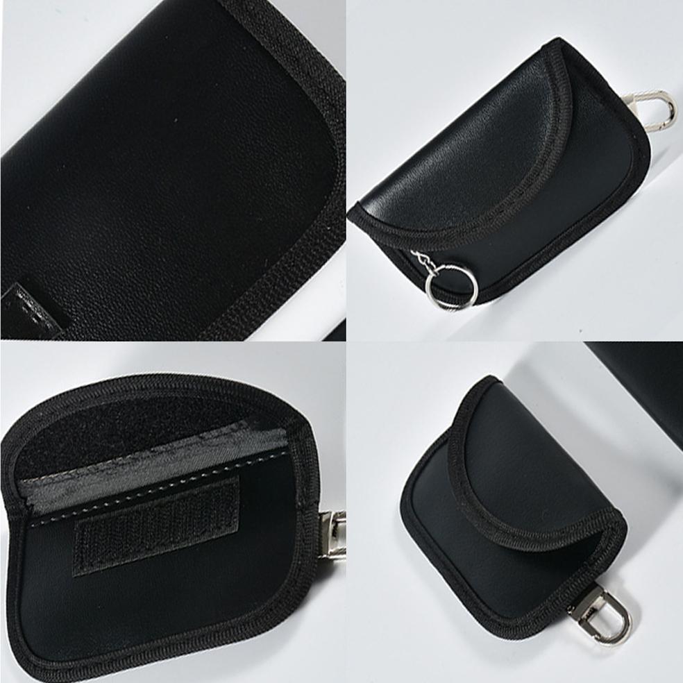 Black PU 11*6.5cm Faraday Key Fob Protector RFID Key Fob Pouch