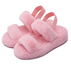 Wholesale 2020 Fashion Design Home Bedroom Indoor Pink Plush Ladies Furry Slippers for Women