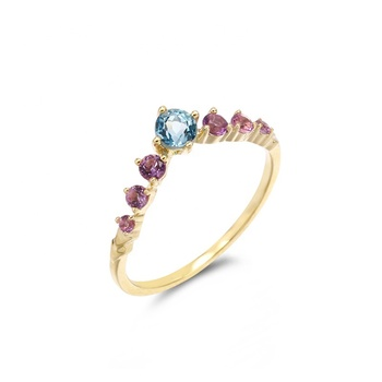 Daily Wear Gemstones Fashion Jewelry 9K Yellow Light Weight Gold Ring Simple Fast Delivery