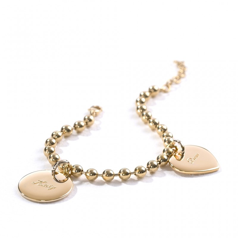 Trendy Round Beads Eternal Bracelet Jewelry Stainless Steel Gold Plated Bangle Couple Love Heart Dainty Disc Bracelet Women