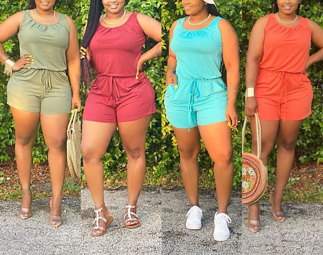 One piece casual plus size women summer clothing sexy short rompers and jumpsuits for womens