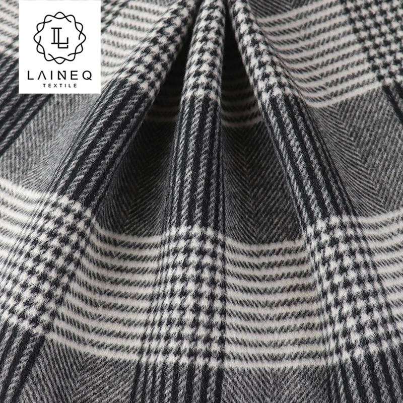fashionable double sided check/herringbone wool alpaca overcoat fabric
