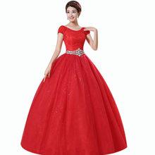 Красные Свадебные платья It's Yiiya BR726 размера плюс свадебное платье с круглым вырезом и кристаллами Vestido De Noiva длина до пола кружевные свадебны...(China)