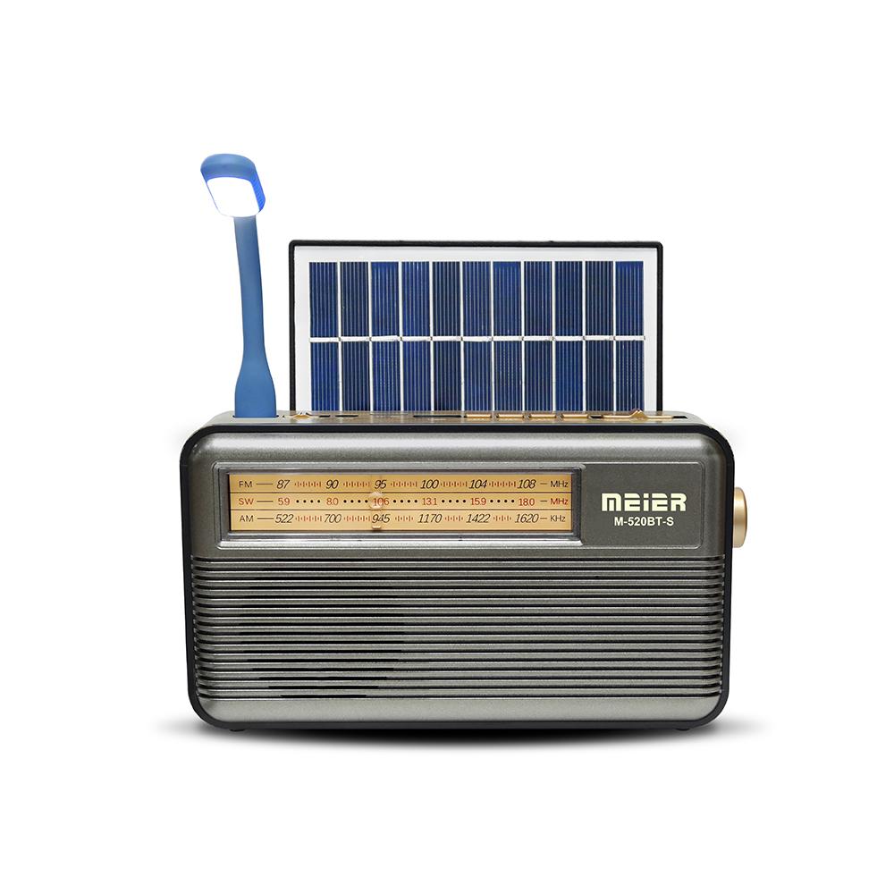M-521BT Kemai Portable Wireless Receiver Speaker Rechargeable Light MP3 AM/FM Flashlights Weather Emergency AM FM SW Solar Radio