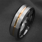 Basic Mens Titanium Wedding Ring Brushed Finished Gold Line Wedding Band Comfort Fit Stepped Edge