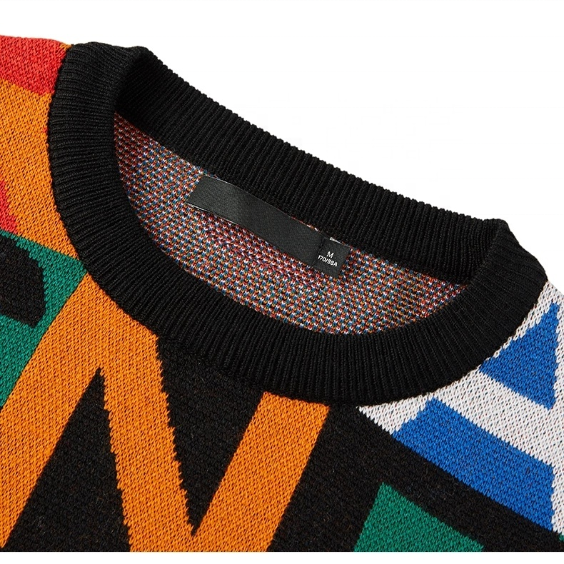 2021 Custom OEM & ODM men's sweater Long Sleeve Jacquard knitwear Crew neck pullover men clothes fashion Knitted men sweater