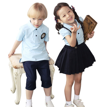 OEM Boys and Girls Korea and Japanese Style Summer Blue Short Sleeve T-shirt Children's School Uniform Preschool Uniforms
