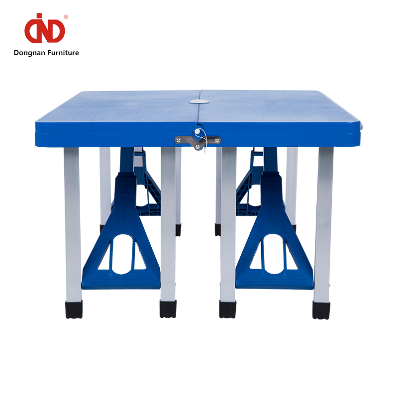 Space-saving Colorful Plastic Outdoor Table and Chair Set for Camping Portable