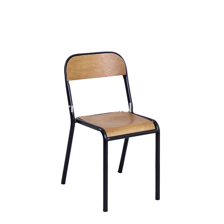 French Black Mid-Century And Modern Ergonomic Industrial Chair  European Wooden Seat Restaurant Cafe Chair