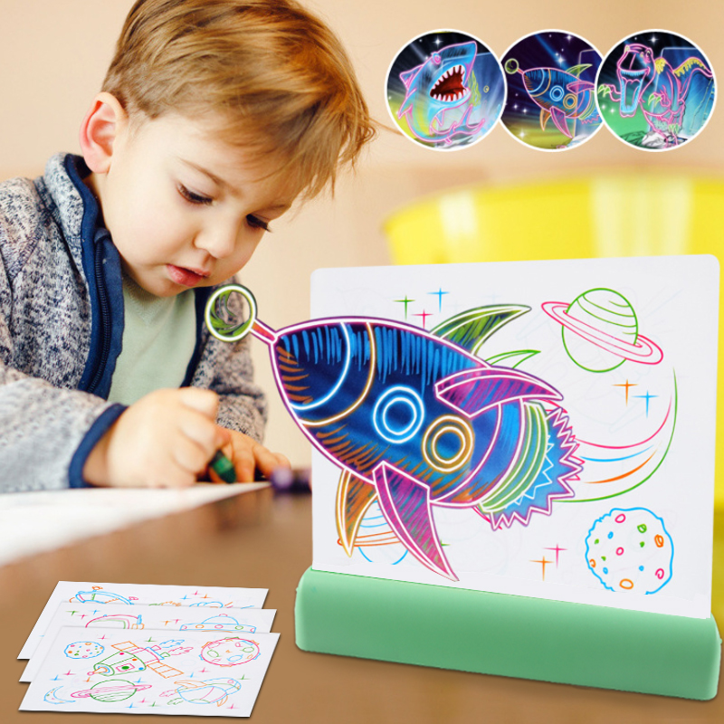 Amazon Hot selling educational learning glowing doodle flash magic 3d drawing board
