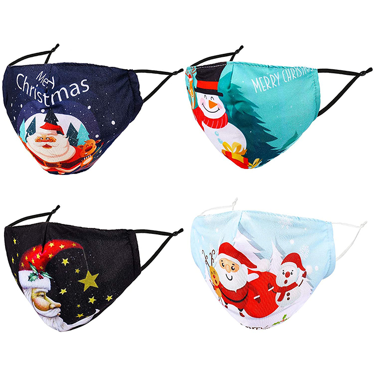 Custom printed washable adjustable cotton cute face mask merry christmas - KingCare | KingCare.net