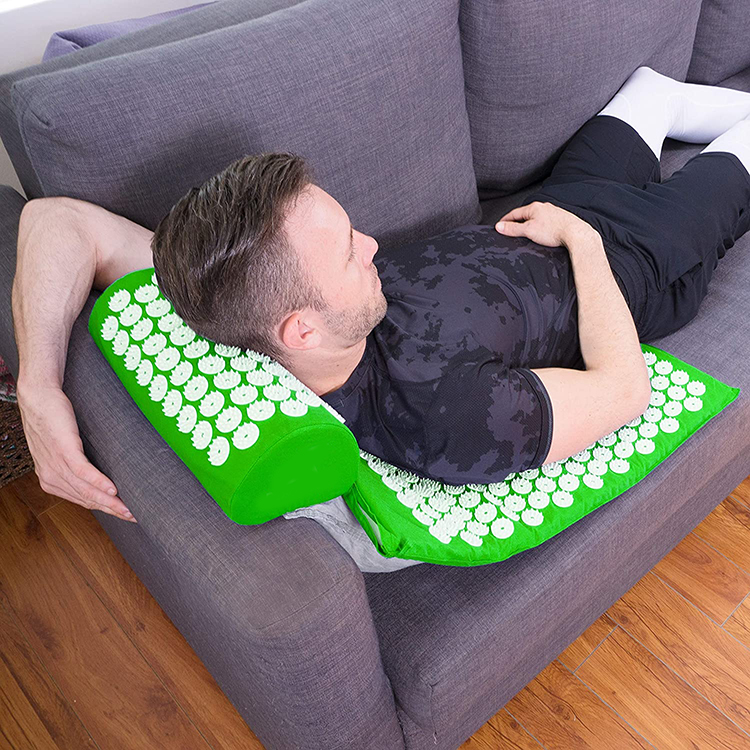 Full Body Acupressure Massage Mat and Pillow Set for Back/Neck Pain Relief and Muscle Relaxation