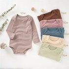 Baby Baby Bodysuit Wholesale Envelope Solid Rib Crotch Snap Baby Bodysuit Long Sleeve