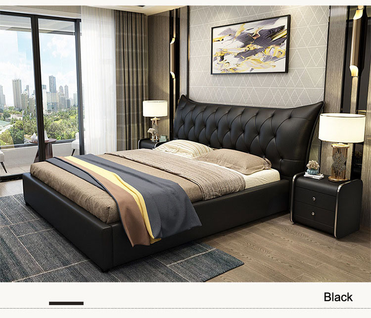Light luxury large bed with first layer cowhide backrest and stable solid wood frame structure storage boxes bedroom furniture