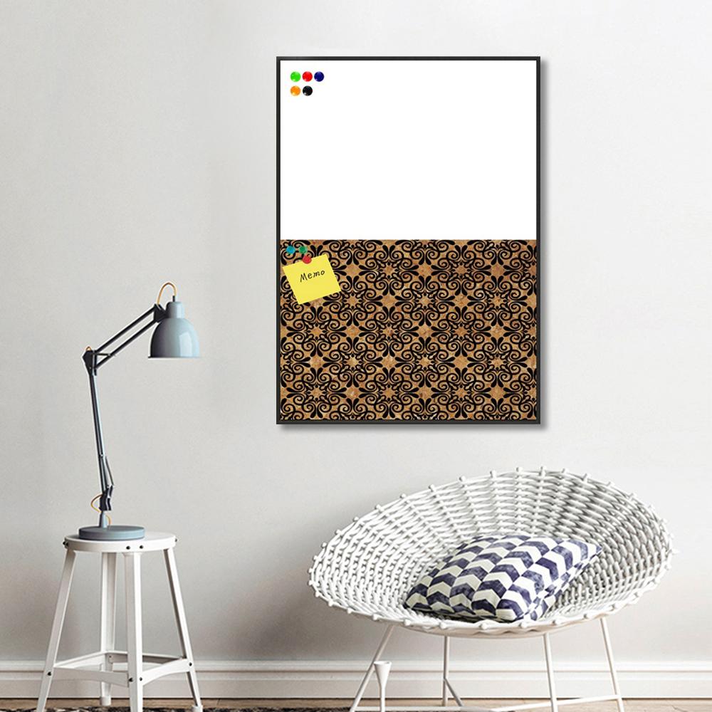 Hot Sale Fine Flora Pattern black Art Wood Veneer Cork board and White board Memo board Wall Art