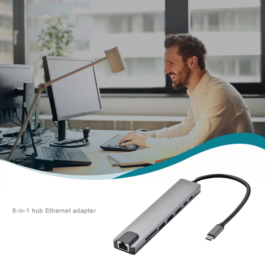 8In1 Usb-C 3.1 Type-C Usb 3.0 Hub Micro Security Digitale kaart Tf Otg Type-c Adapter