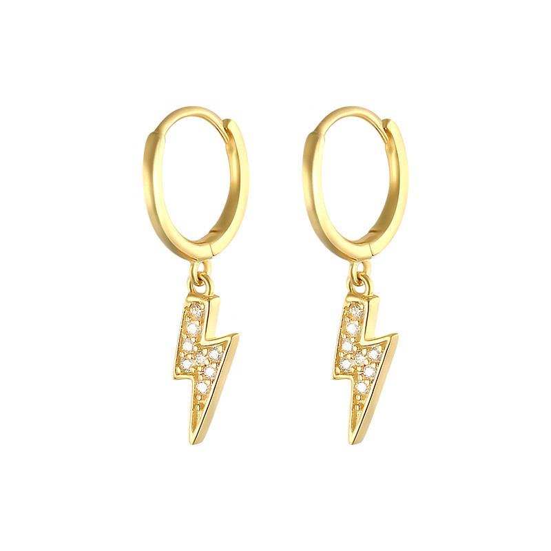 Women's Silver Lightening Bolt Drop Earrings