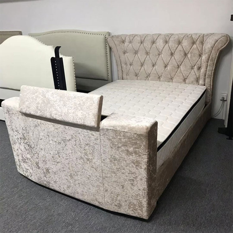 modern velvet leather under bed with crystal headboard remote tv lift european design bedroom furniture luxury bed with tv