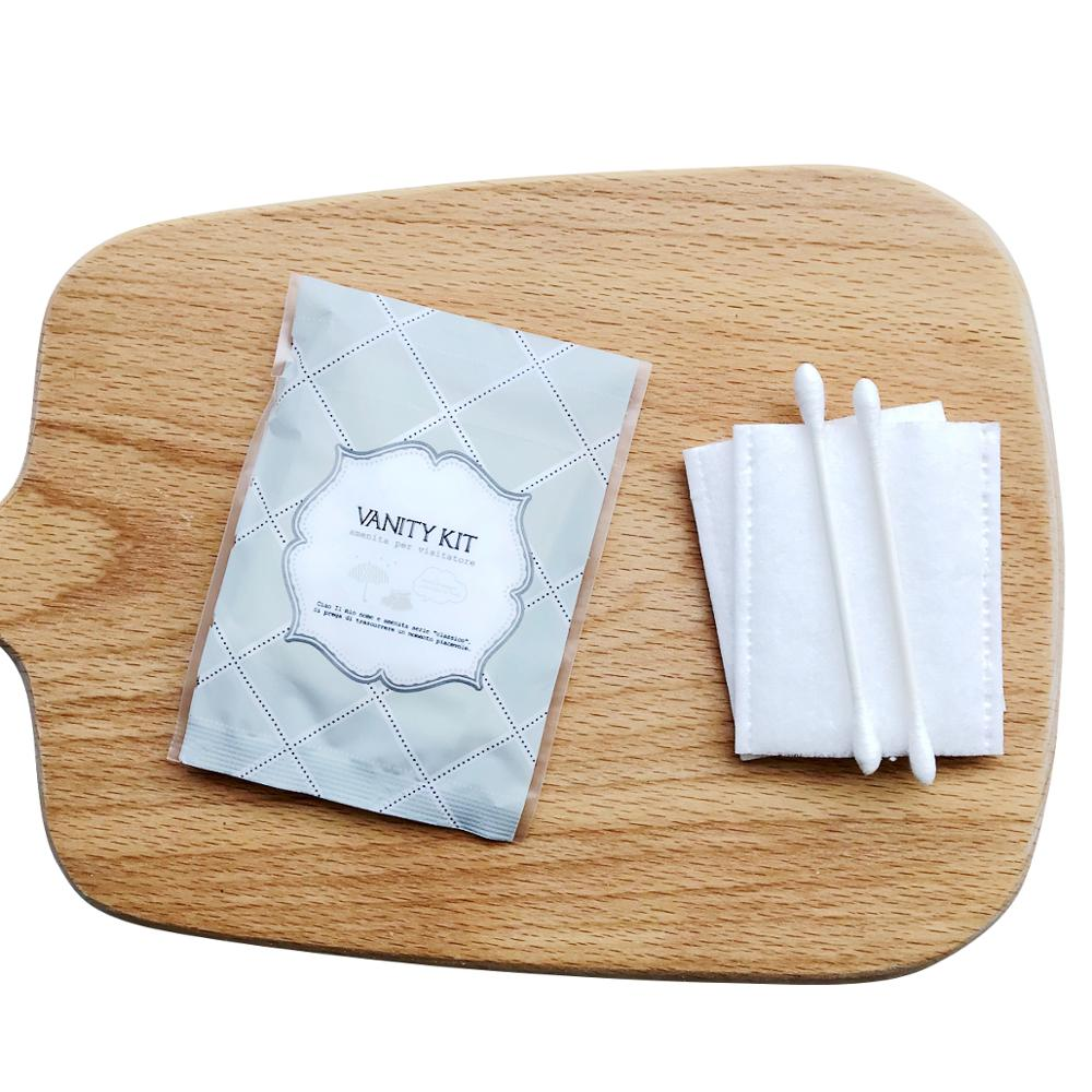 Customized wholesale personalized one-off disposable cotton swab hair ring vanity kit for hotel