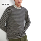 Cotton Long MGOO Custom Cotton Long Sleeve High Collar Stripe T Shirt With Your Logo