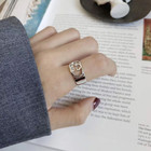 S925 sterling silver ring Japan and South Korea simple versatile ring openwork letter double G open ring