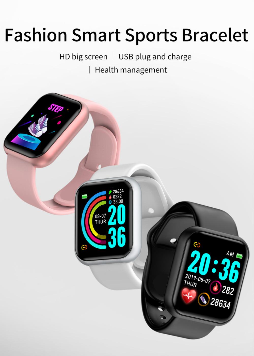 2020 amazon hot D20 Smart Watch Men Women Sports Y68 smartwatch Bluetooth Wristband Blood Pressure Heart Rate Fitness Bracelet