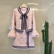Женский модельный костюм, элегантный офисный деловой твидовый пиджак, розовая мини-юбка, зимний комплект из двух предметов(Китай)