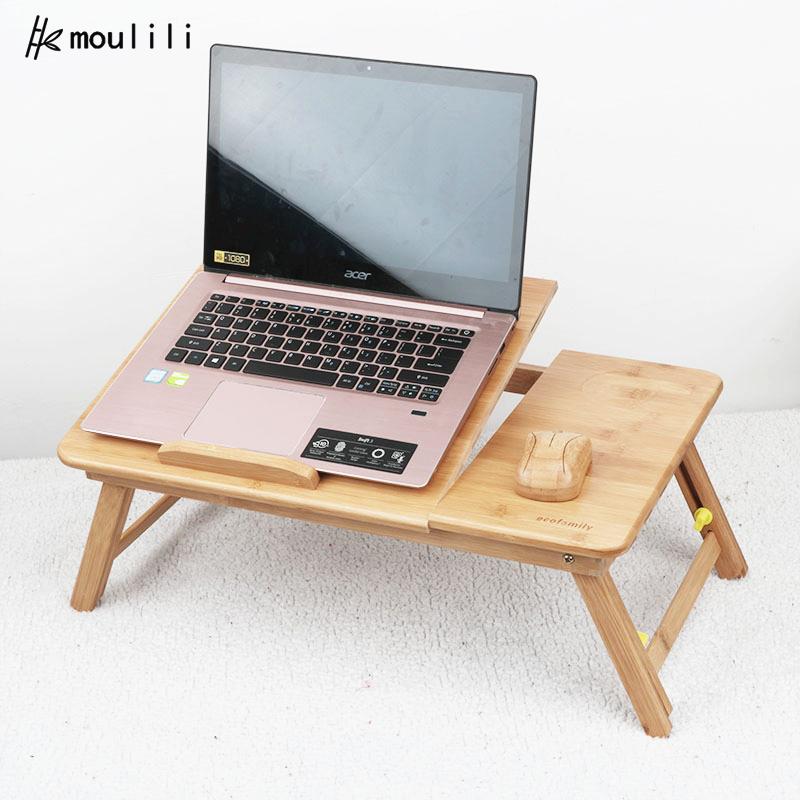 Оптовая продажа на заказ, портативный многофункциональный складной удобный Бамбуковый стол для ноутбука