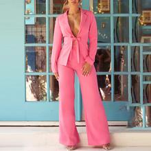 COSYGAL 2020 осенний Модный комплект с курткой для офисных леди, сексуальный женский костюм, прямые брюки, вечерние Клубные наряды, Женский компл...(Китай)