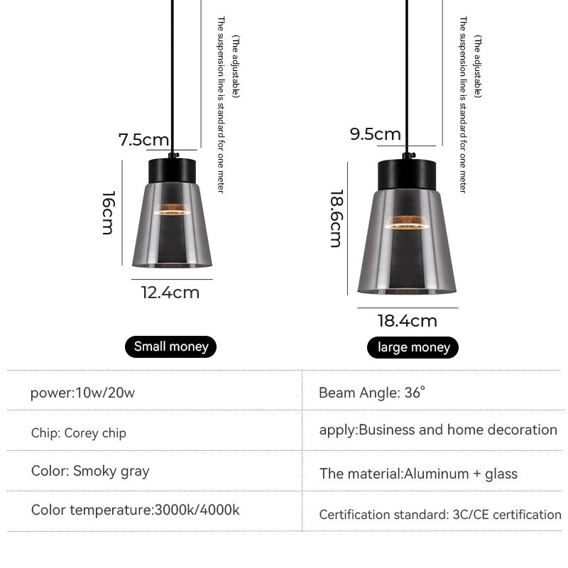 Светодиодная Люстра для ресторана, креативный современный минималистичный прикроватный светильник с одним наконечником для спальни, кабинета