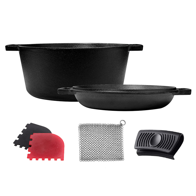 Preseasoned cast iron dutch oven with pan lid 2 in 1 cookware set outdoor campfire cooking soup pot with grilling pan