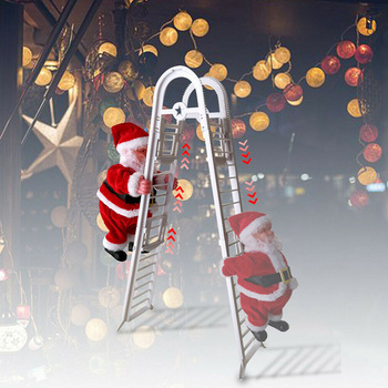 1 Pc Electric Climbing Ladder Santa Claus Christmas Figurine Hanging Ornament Gifts With Music,A Great Decoration for Your Home