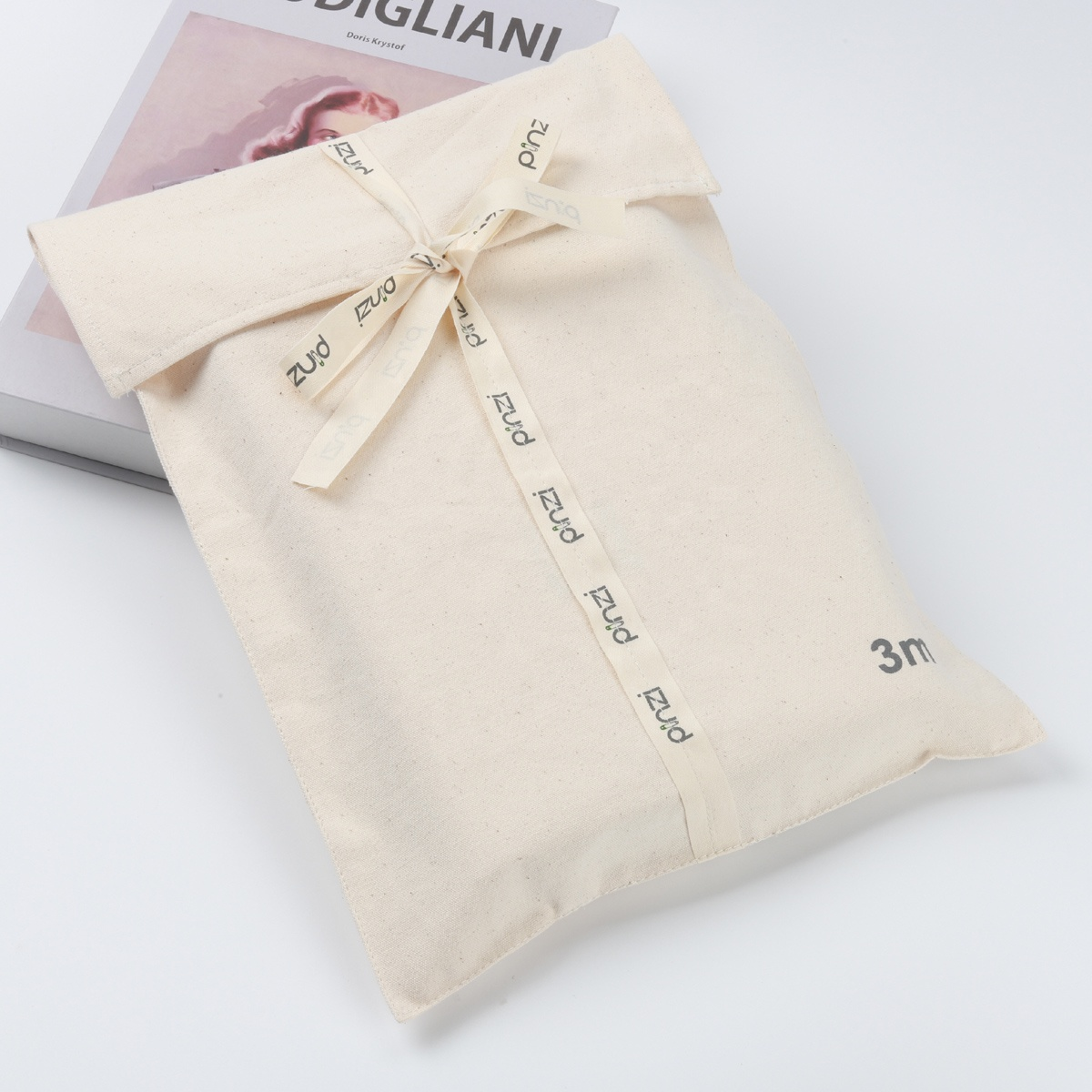 Custom Logo Printed Cotton Envelope Gift Packaging Bag With Bow Large Beige Shoe Clothes Dust Envelope Pouch