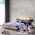 Beds Bed Bed Children Beds Kids Bedroom Solid Wood Children Beds With Bedside Floor Induction Led Light Adjustable Bed Lamp UFO Cartoon Beds