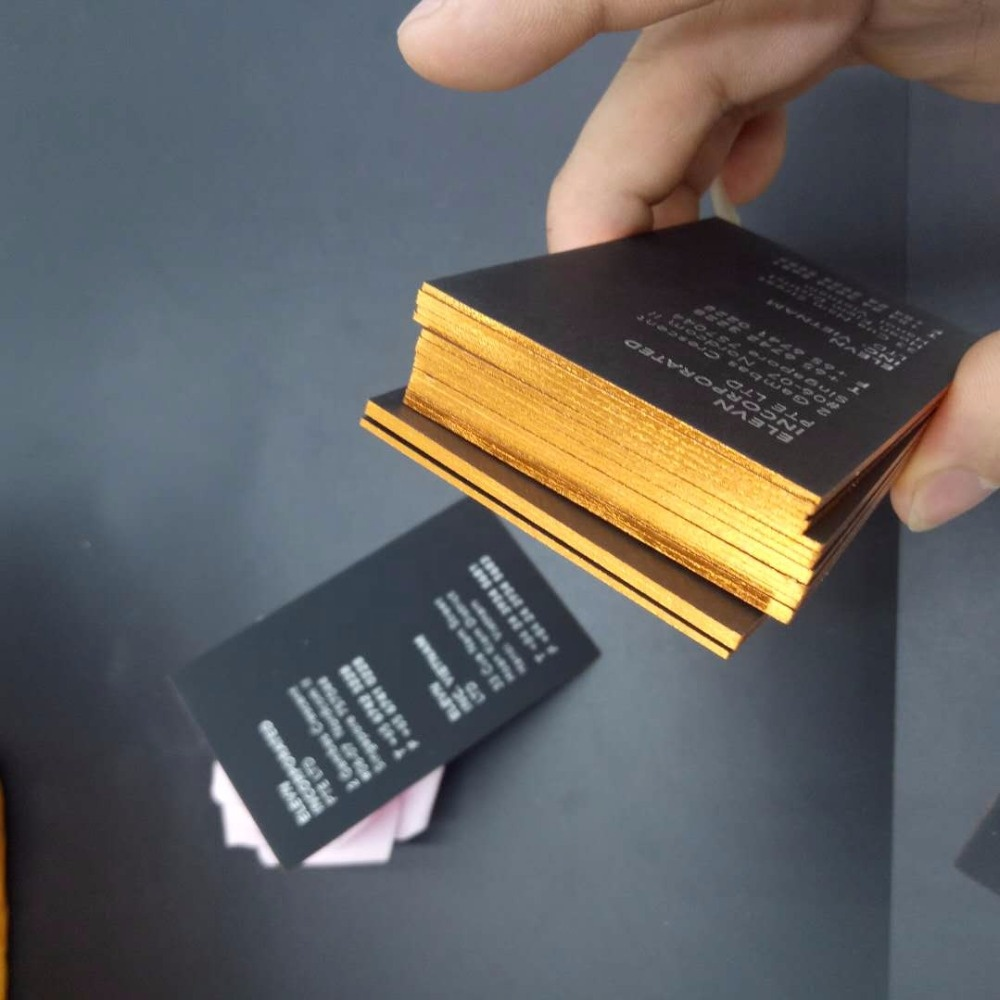 Custom edge color business card, deboss gold foil business card printing