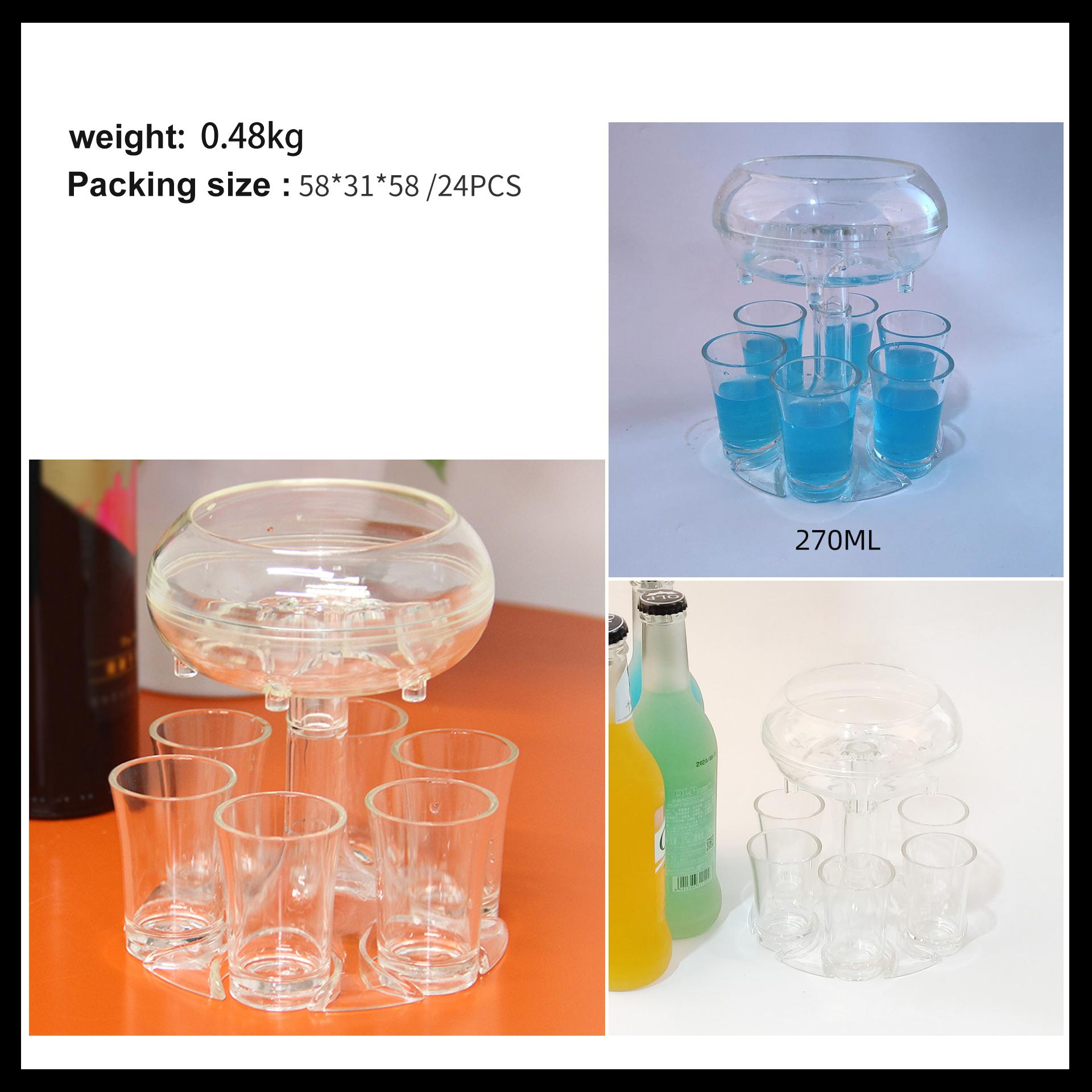 DDA2014 Bar Drinking Tool Cocktail Liquor Dispenser Party Plastic Whisky Beer Wine Shots Dispenser Clear 6 Shot Glass Dispensers