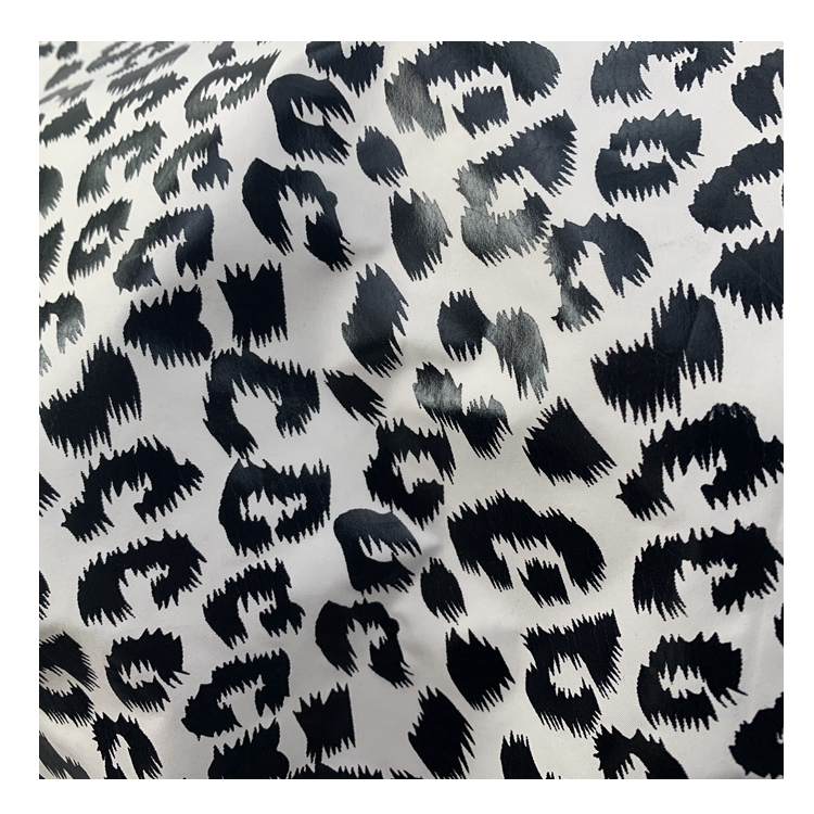 Customized Woven Fabric Pu coating Waterproof leopard Foil printing 100% Polyester Pongee Clothes Fabric