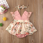 Baby Summer Thin Sleeveless Lace Small Floral Bodice Dress Bow Scarf 2 Piece Romper Suit