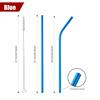 Azul dobrado e em linha reta com escova