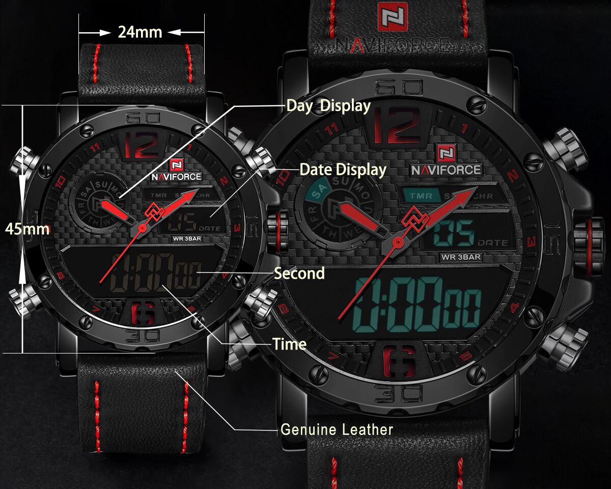 Naviforce 9134 top 10 brands Brown man quartz watch 2019 Genuine Leather Strap Luminous chronometer Concise Casual wrist watch