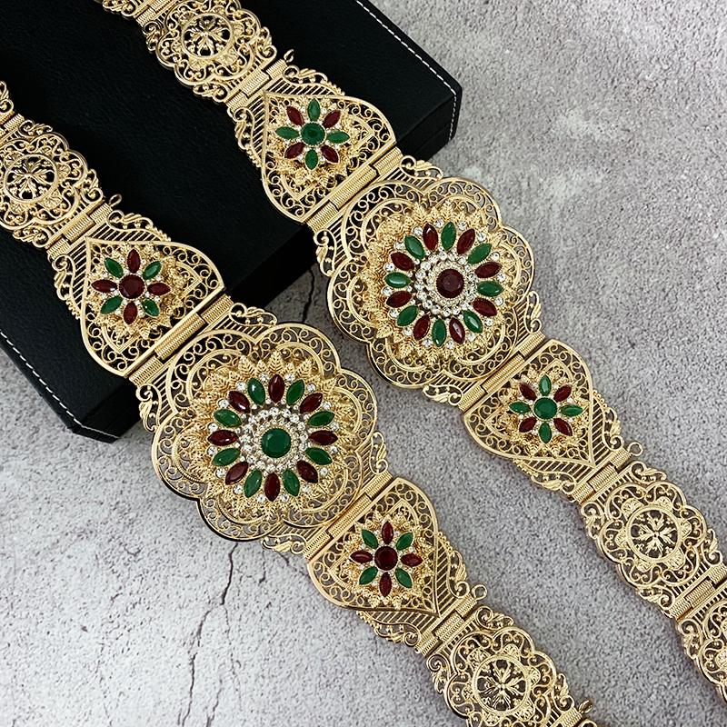 Марокканский кафтан, пояс, Цветочная цепочка на талию для женщин, круглый кристалл, этническое свадебное украшение для тела, подарок для невесты
