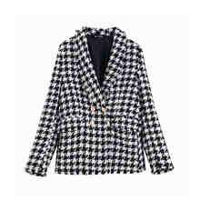 Женский твидовый двубортный пиджак KPYTOMOA, винтажный блейзер с длинными рукавами и потертой отделкой, верхняя одежда(Китай)