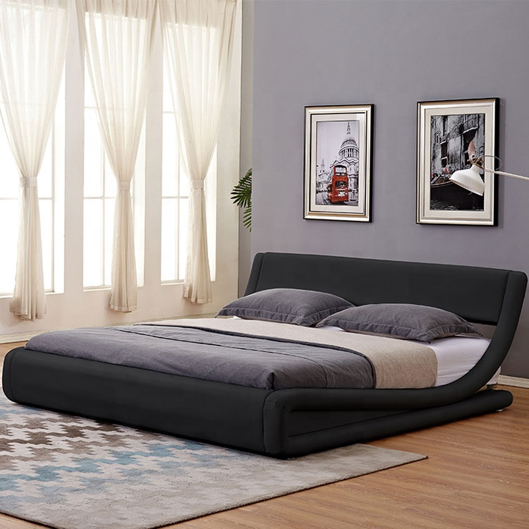 popuolar in california and indian or pvc bed with curve shape king size black colour modern design bed